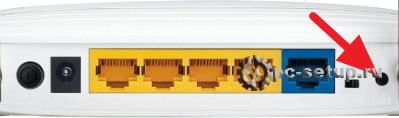 Задняя панель роутера - кнопка сброса
