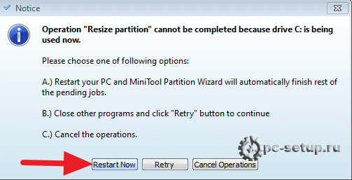 MiniTool Partition Wizard - Resize partition