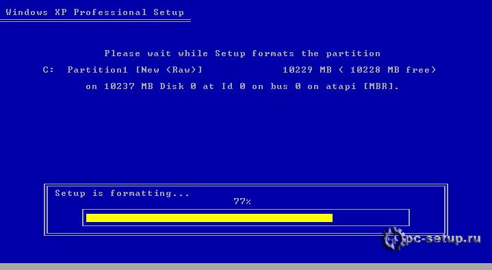 Windows XP setup - форматирование
