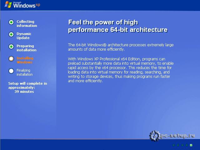 Windows XP setup - установка